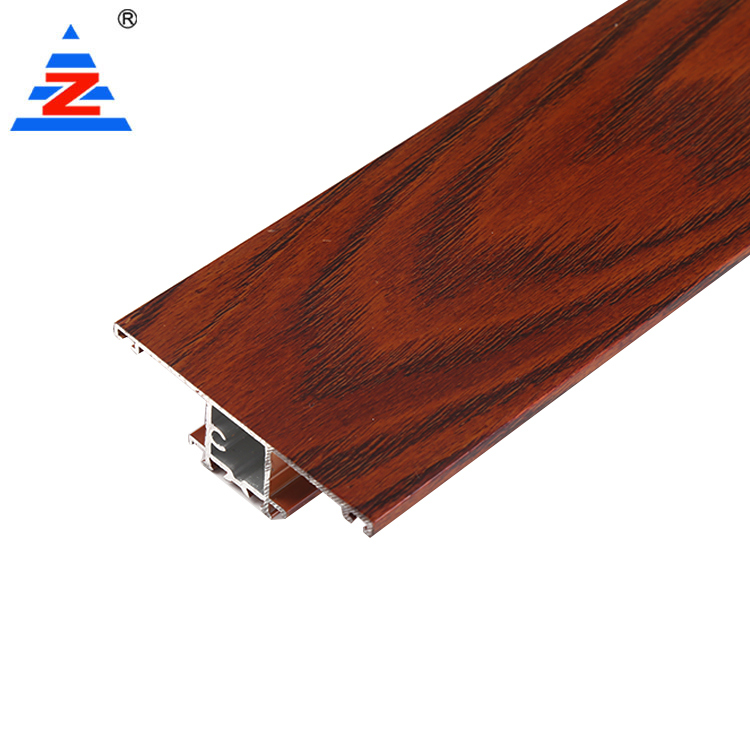 Custom Aluminum Wardrobe Door Profile Wooden Color Extrusions